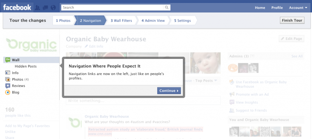 Facebook Pages Navigation Changes